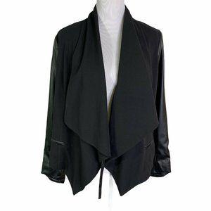 Kensie Faux Leather Sleeves Asymmetrical Jacket